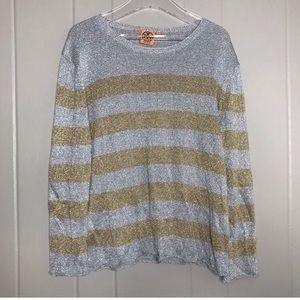 Tory Burch Metallic Lightweight Stripe Sweater Top